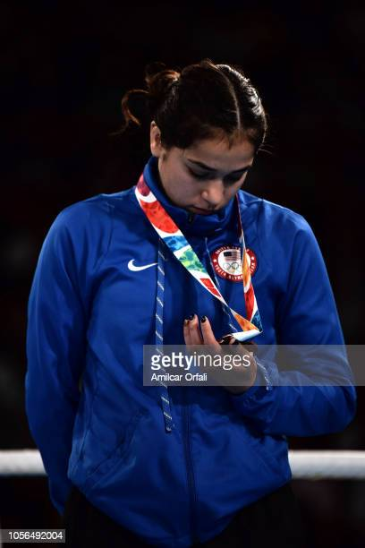 Heaven Destiny Garcia of United States looks her bronze medal in the podium of Women's Fly during day 12 of Buenos Aires 2018 Youth Olympic Games at...