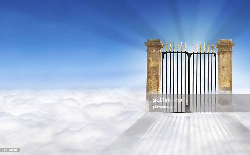 Heaven Gate on Clouds + copy space : Stock Photo