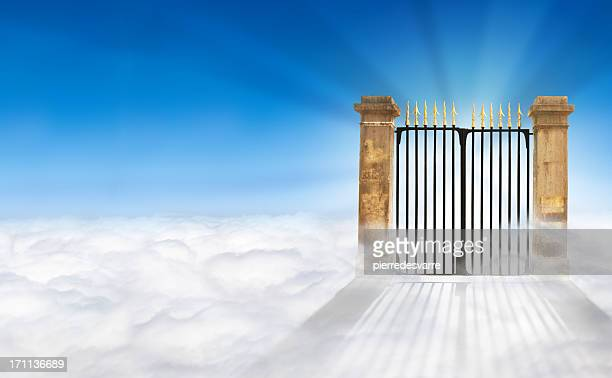 heaven gate on clouds + copy space - elysium stock photos and pictures