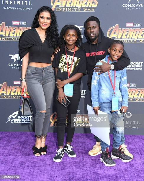 Heaven Hart actor Kevin Hart Hendrix Hart and Eniko Parrish arrives at the Premiere Of Disney And Marvel's Avengers Infinity War on April 23 2018 in...