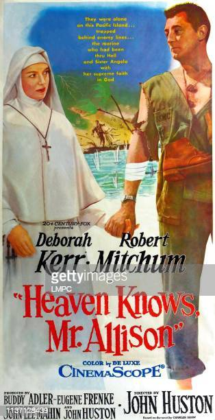 Heaven Knows poster Mr ALLISON from left Deborah Kerr Robert Mitchum on 3sheet poster art 1957