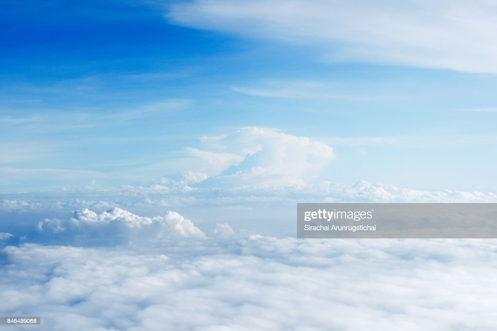 Heavenly aerial scene of white cloud and blue sky : Stock Photo