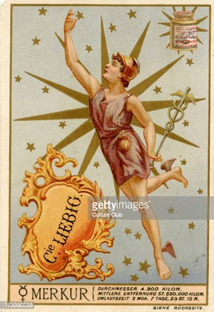 Heavenly Bodies Published 1892 Mercury and astrological symbol Translation 'Diameter 4900 km Orbit 57000 km Orbit time 2 months 7 days 23 hours 15...