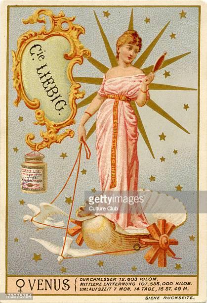 Heavenly Bodies Published 1892 Venus and astrological symbol Translation 'Diameter 12603 km Orbit 107000 km Orbit time 7 months 14 days 16 hours 49...