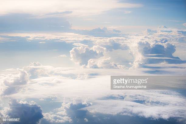 heavenly scene above cloud level - elysium stock photos and pictures