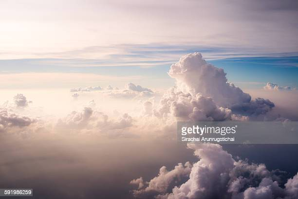heavenly scene above the clouds - elysium stock photos and pictures
