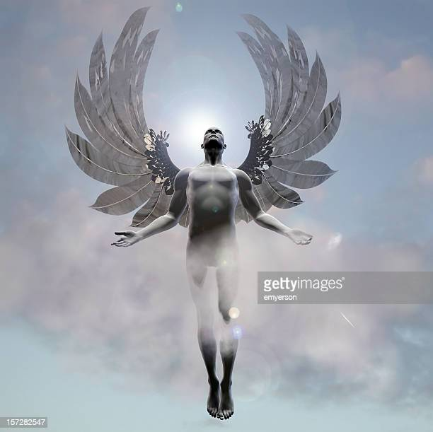 heavenward angel - male angel stock photos and pictures
