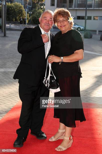 Heaveyweight Boxer Joseph Parker's parents Demsey and Sala Parker arrive at the 54th Halberg Awards at Vector Arena on February 9 2017 in Auckland...