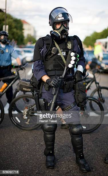 Heavily armed Minneapolis police officers during a demonstration near the Xcel Center at the Republican National Convention in St Paul Minnesota