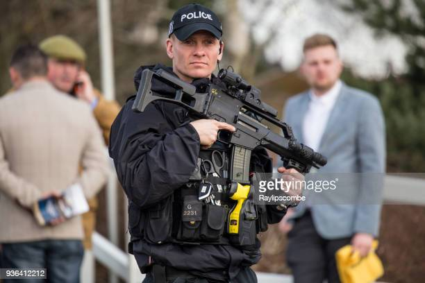 heavily armed police officer, protecting crowds of punters and racegoers on their way to famous cheltenham festival national hunt races - police taser stock pictures, royalty-free photos & images
