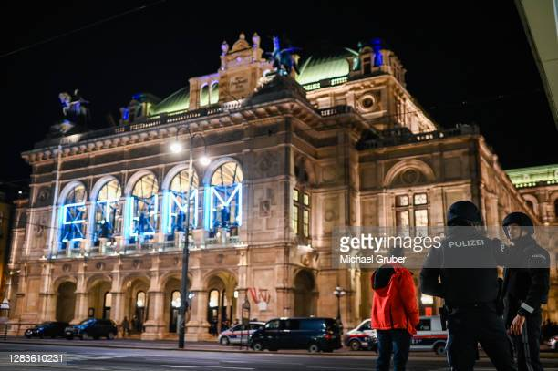 Heavily armed police stand near Schwedenplatz square in the city center following reports of shots fired nearby on November 02, 2020 in Vienna,...