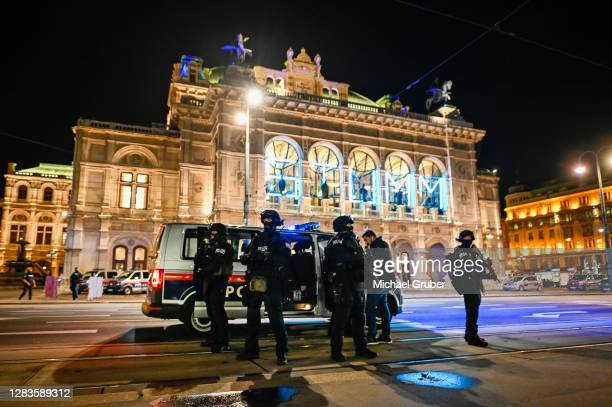 Heavily armed police stand outside the Vienna State Opera following shots fired in the city center on November 02, 2020 in Vienna, Austria. Police...