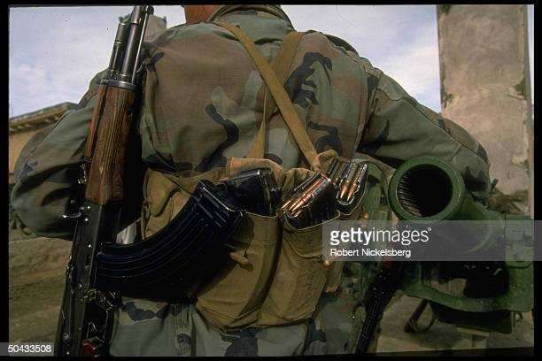 Heavily armed soldier loyal to Rabbani govt. Fighting renegade PM Hekmatyar & ally Dostam-led opposition manning frontline.