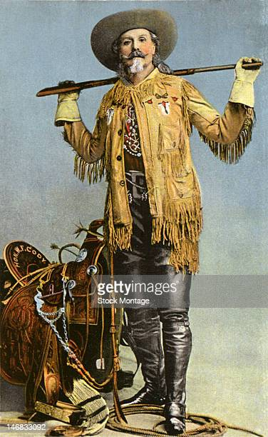 Heavily colorized photograph of American frontiersman showman and promoter William F Cody better known as Buffalo Bill Cody late 19th century
