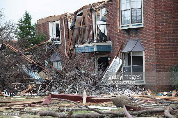 A heavily damaged apartment complex is seen on December 28 2015 in the aftermath of a tornado in Garland Texas The southern US state of Texas reeled...