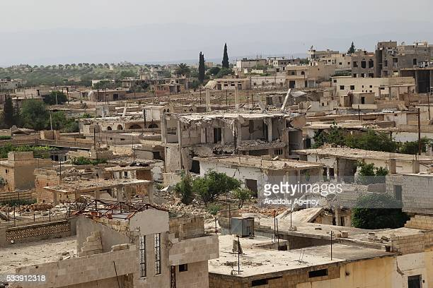 Heavily damaged buildings are seen seen in Kafr Zita Town of Hama Syria on May 24 2016 Assad regime forces had been hitting the town since 2012...