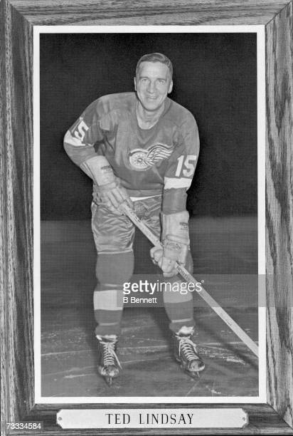 Heavily doctored photo shows a silhouetted portrait of Canadian professional ice hockey player Ted Lindsay of the Detroit Red Wings within an image...
