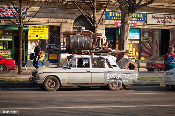 heavily loaded zastava car - merten snijders stock pictures, royalty-free photos & images