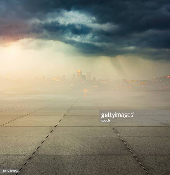 heavily polluted city with smog in air and concrete ground - acid rain stock photos and pictures