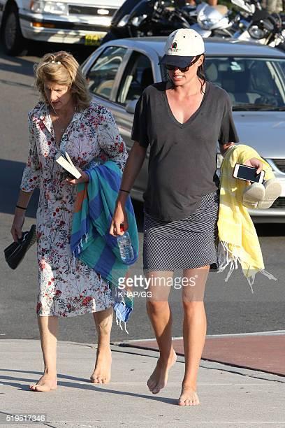 Heavily pregnant Francesca Cumani enjoys a day at the beach on April 6 2016 in Sydney Australia