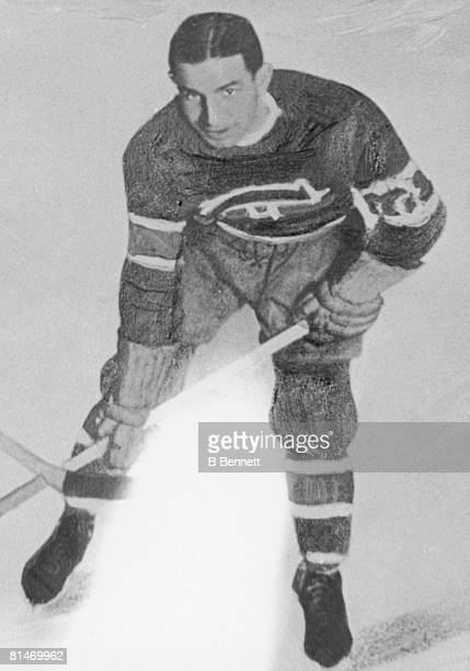 Heavily retouched publicity portrait of Canadian ice hockey player Johnny Gagnon of the Montreal Canadiens 1930s