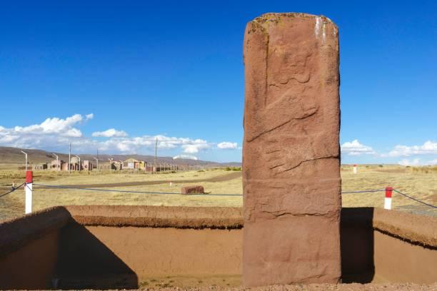 Heavily weathered monolith of the pre-Inca period, ruins of Tiwanaku, also Tiahuanaco, Unesco World Heritage Site, La Paz Department, Bolivia
