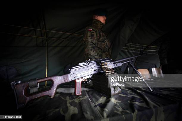 A heavy caliber automatic rifle is seen on display in Bydgoszcz Poland on March 9 2019 during the Military Picnic on the occasion of Poland's 20th...