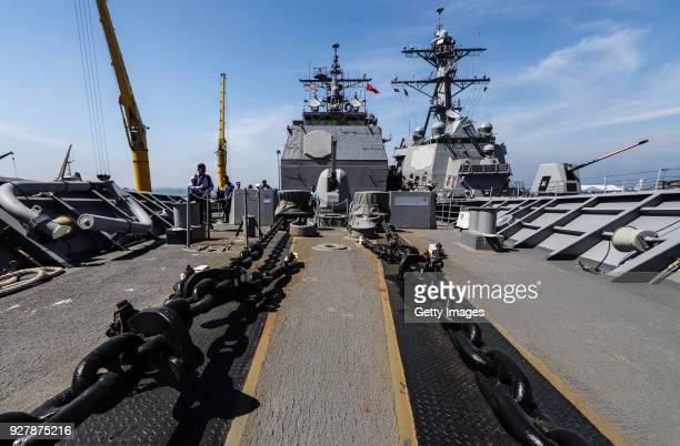 Heavy chains seen onboard the USS Carl Vinson at Tien Sa Port on March 6 2018 in Danang Vietnam A United States aircraft carrier USS Carl Vinson made...