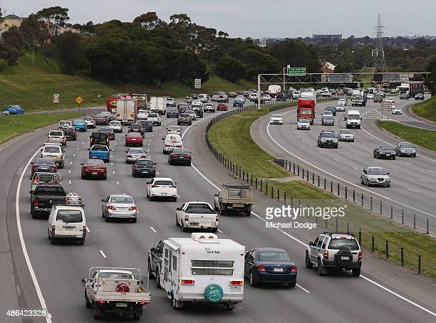 Heavy city traffic leaves after a strike by Rail Tram and Bus Union workers on September 4 2015 in Melbourne Australia The strike over pay and...