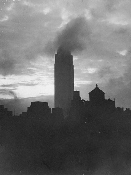 Heavy cloud envelops the top of the Empire State Building.
