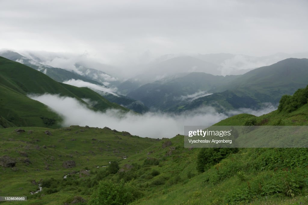 Heavy clouds over Abudelauri Valley, Caucasus Mountains, Georgia : Stock Photo