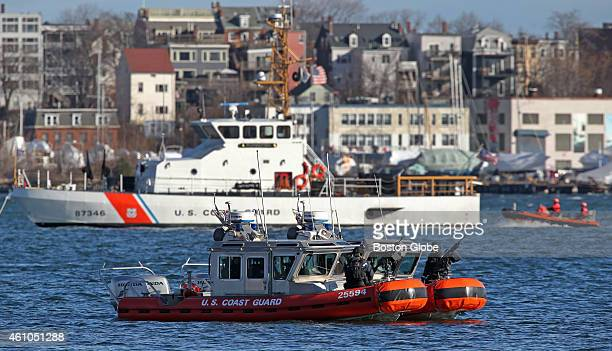 A heavy Coast Guard presence was seen in Boston Harbor by the Moakley Federal Courthouse for start of jury selection for the Boston Marathon bombing...
