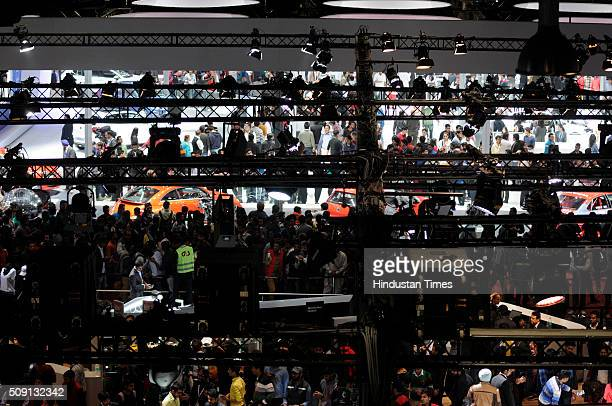 Heavy crowd of visitors at the Auto Expo 2016 on February 8, 2016 in Greater Noida, India. People thronged at the Auto Expo 2016 venue for the fourth...