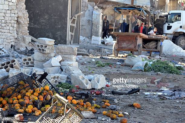 Heavy damage is seen following the Russian airstrikes targeting a market and residential areas in Ariha town Idlib northern Syria on November 29 2015...