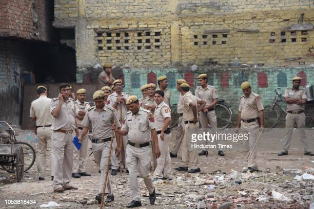 Heavy deployment of police force inside the compound of a mosque after an eightyearold student of a Madrasa died after he sustained a head injury...