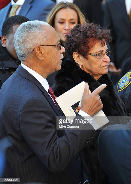 Heavy D's parents Clifford Vincent Myers and Eulahlee Lee attend the funeral service for Heavy D at Grace Baptist Church on November 18 2011 in Mount...