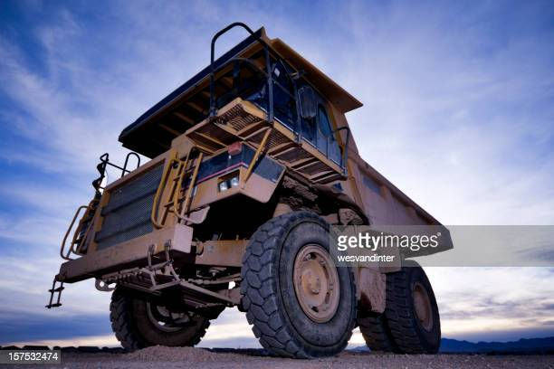 Heavy equipment dump truck seen from below