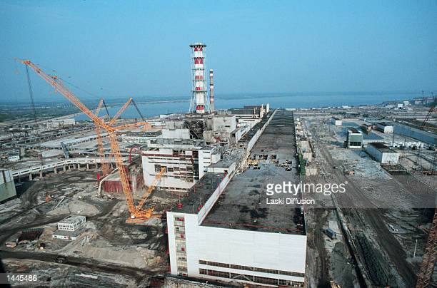 Heavy equipment surrounds the Chernobyl nuclear plant May 1 1986 in Russia Safety work is being done on block nr 4 of the plant after an explosion...