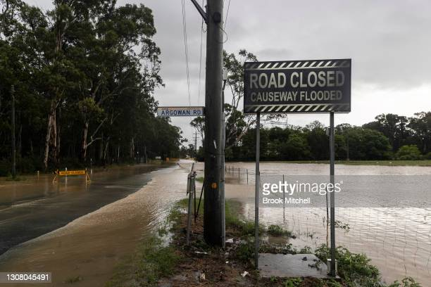 Heavy flooding is seen in the Sydney suburb of Schofields on March 20, 2021 in Schofields, Australia. Heavy rain and flooding has trigger evacuations...