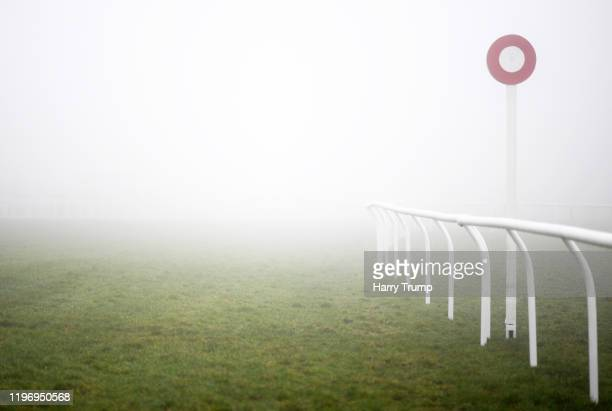 Heavy Fog descends on the Racecourse prior to the start of racing at Exeter Racecourse on January 01 2020 in Exeter England