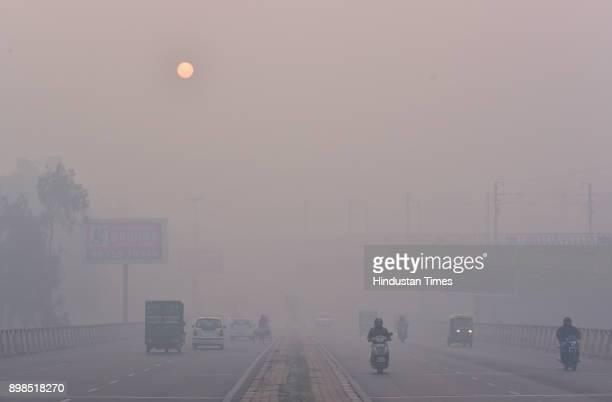 Heavy Fog/Smog engulfed in national capital at Patel Nagar on December 25 2017 in New Delhi India