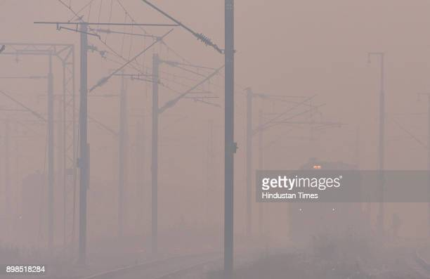 Heavy Fog/Smog engulfed in national capital at Patel Nagar on December 25 2017 in New Delhi India