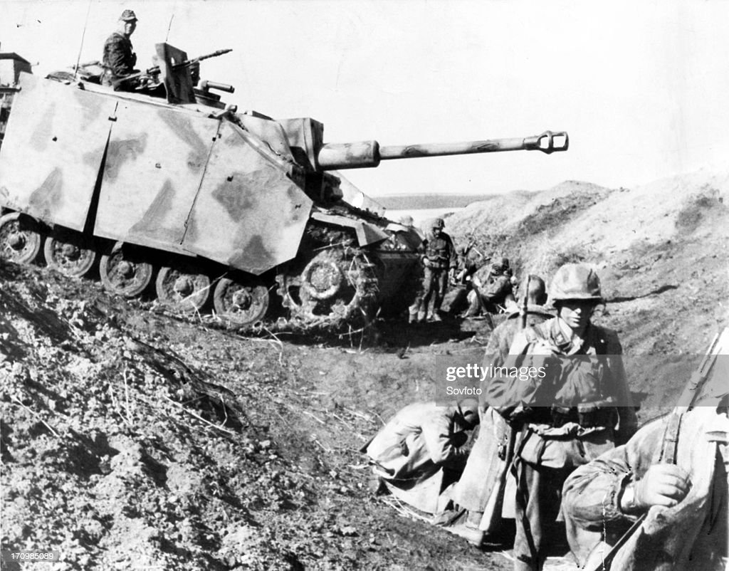 Heavy german tank crosses a russian tank ditch near belgorod during the kursk battle august 1943, the big russian summer attack made the germans turn around and retreat. : News Photo
