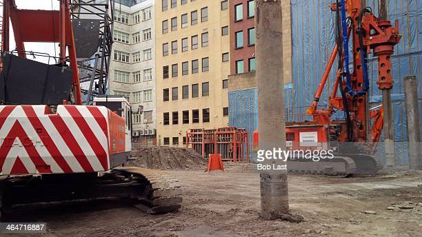 Heavy machinery on a Glasgow building site.