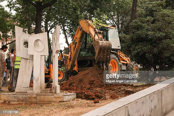 Heavy machinery working at Gezi Park after the eviction of the protestors.
