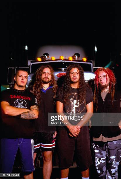 Heavy metal band Sepultura in a posed portrait circa 2000