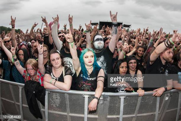 Heavy metal fans at Bloodstock Festival at Catton Hall on August 11 2018 in Burton Upon Trent England