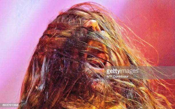 Heavy Metal guitarist Andreas Kisser from the band Sepultura performs at the Rock in Rio concert at the Olympic Park in Rio de Janeiro Brazil on...