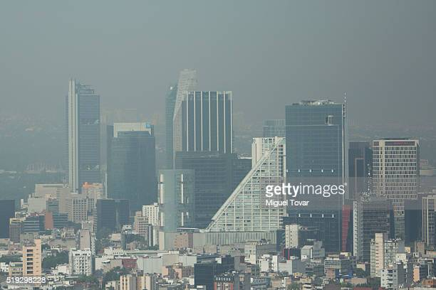 Heavy mist blankets Mexico City on April 5 2016 in Mexico City Mexico Authorities have declared a pollution alert after smog rose to one and a half...