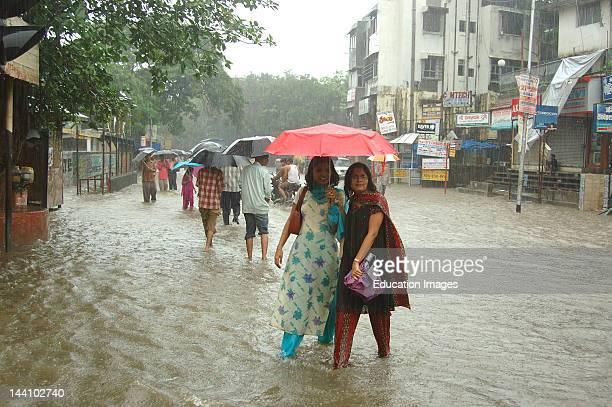 Heavy Monsoon Rain At Bombay Mumbai Maharashtra India